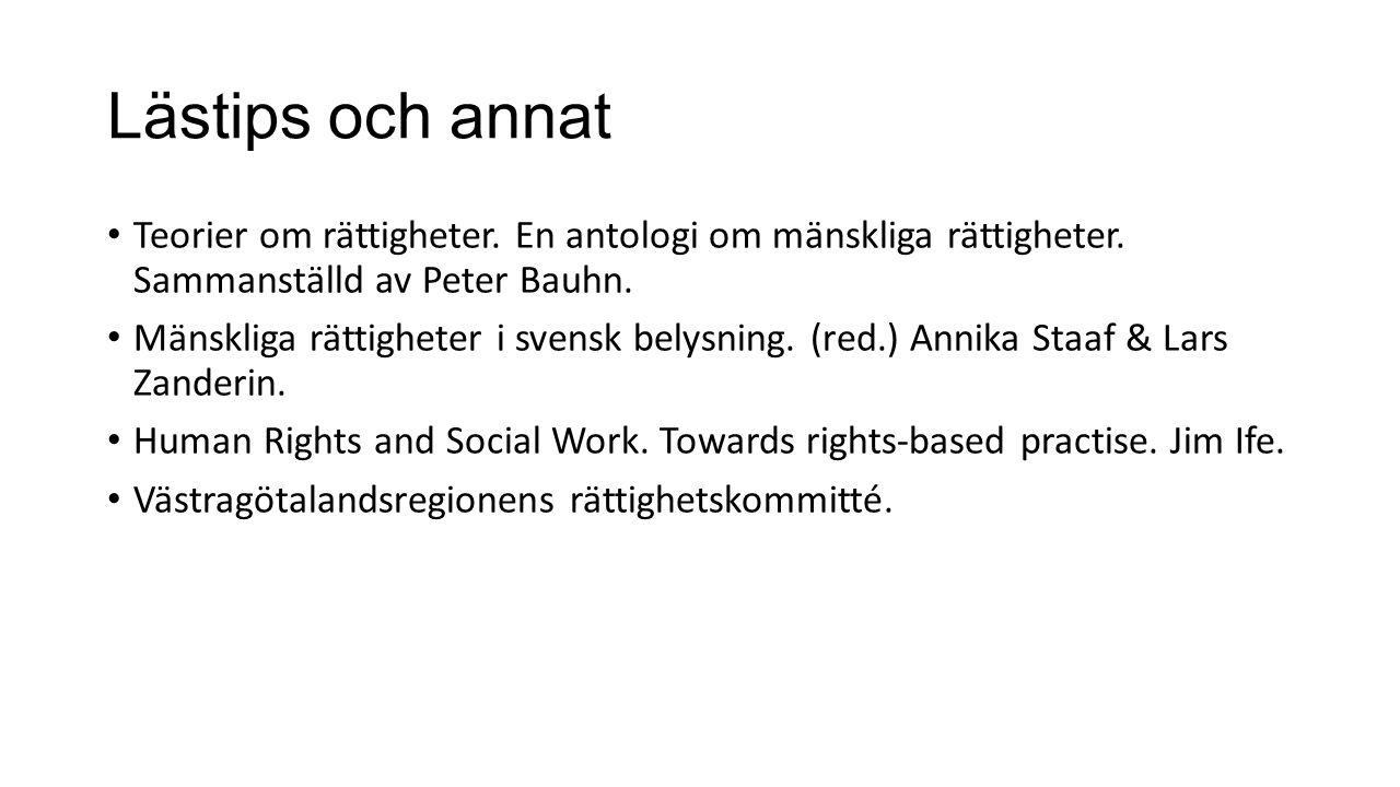 Lästips och annat Teorier om rättigheter. En antologi om mänskliga rättigheter. Sammanställd av Peter Bauhn. Mänskliga rättigheter i svensk belysning.