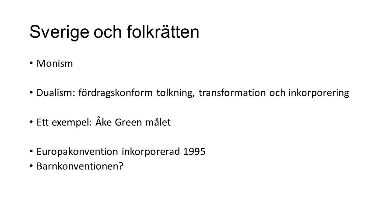Sverige och folkrätten Monism Dualism: fördragskonform tolkning, transformation och inkorporering Ett exempel: Åke Green målet Europakonvention inkorporerad 1995 Barnkonventionen