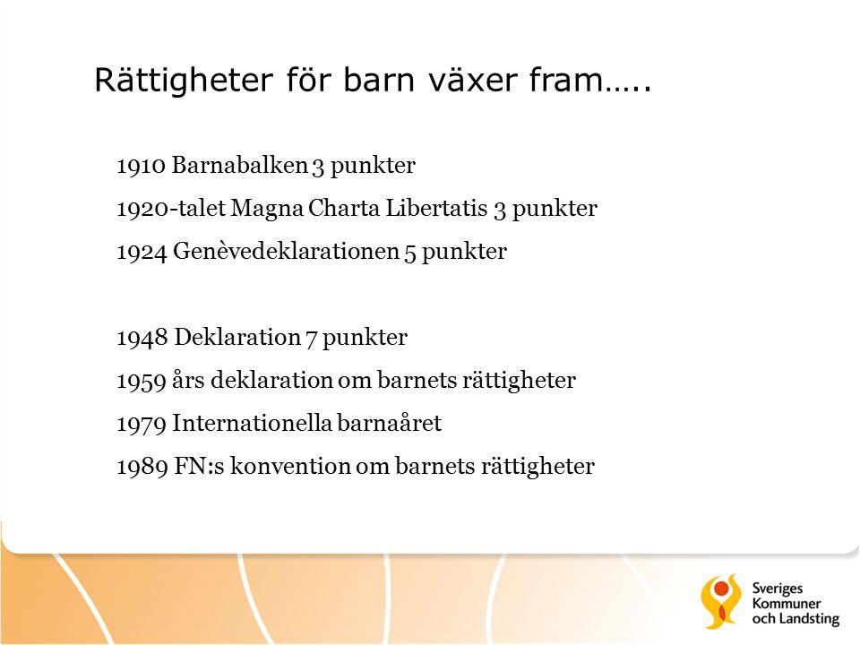1990 19931996 1999 Konventionens genomförande i Sverige Statlig nivå NGO:s Frivilligorgani- sationer Lag om barnombuds- man 30 milj BO Ratificering