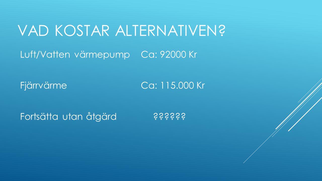 VAD KOSTAR ALTERNATIVEN? Luft/Vatten värmepump Ca: 92000 Kr FjärrvärmeCa: 115.000 Kr Fortsätta utan åtgärd??????