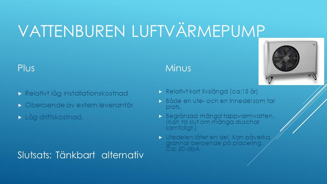 VATTENBUREN LUFTVÄRMEPUMP Plus  Relativt låg installationskostnad  Oberoende av extern leverantör  Låg driftskostnad. Minus  Relativt kort livslän