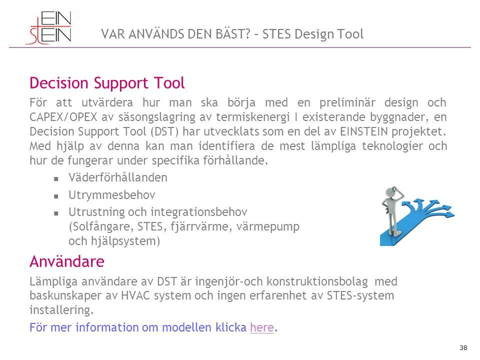 Decision Support Tool För att utvärdera hur man ska börja med en preliminär design och CAPEX/OPEX av säsongslagring av termiskenergi I existerande byggnader, en Decision Support Tool (DST) har utvecklats som en del av EINSTEIN projektet.