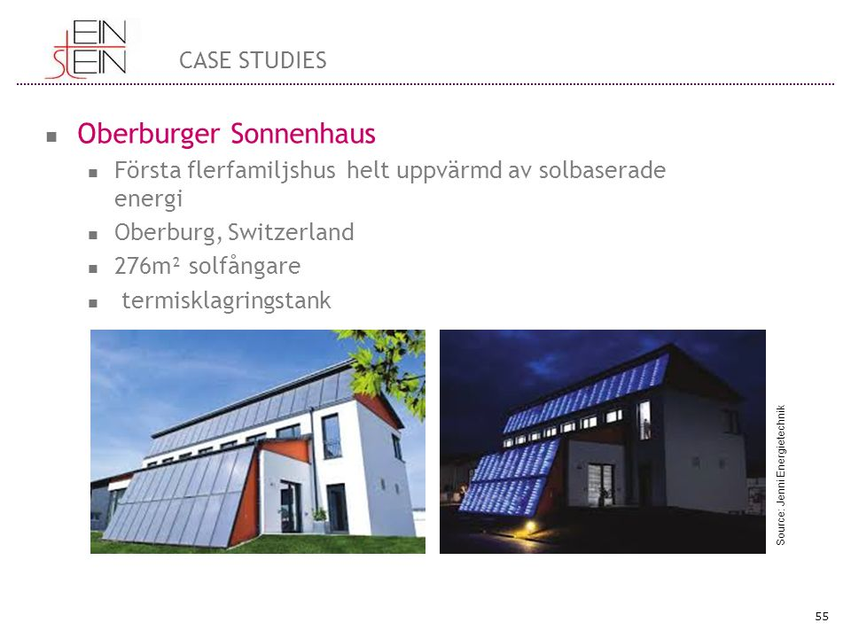 Oberburger Sonnenhaus Första flerfamiljshus helt uppvärmd av solbaserade energi Oberburg, Switzerland 276m² solfångare termisklagringstank 55 CASE STUDIES Source: Jenni Energietechnik