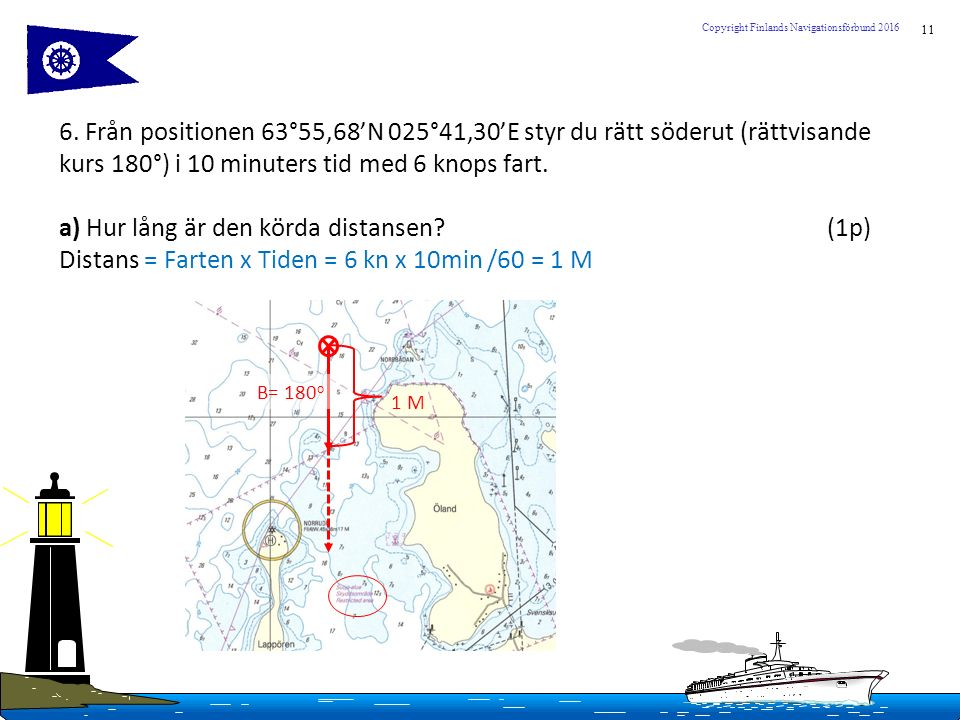 11 Copyright Finlands Navigationsförbund 2016 6. Från positionen 63°55,68'N 025°41,30'E styr du rätt söderut (rättvisande kurs 180°) i 10 minuters tid
