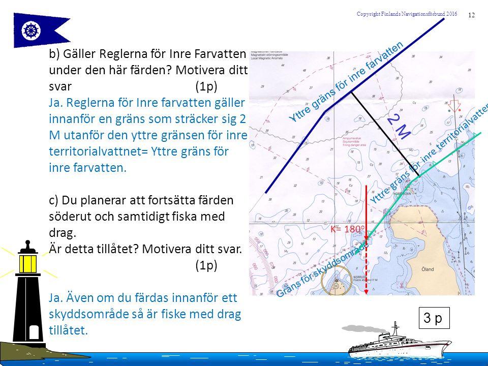 12 Copyright Finlands Navigationsförbund 2016 b) Gäller Reglerna för Inre Farvatten under den här färden? Motivera ditt svar (1p) Ja. Reglerna för Inr
