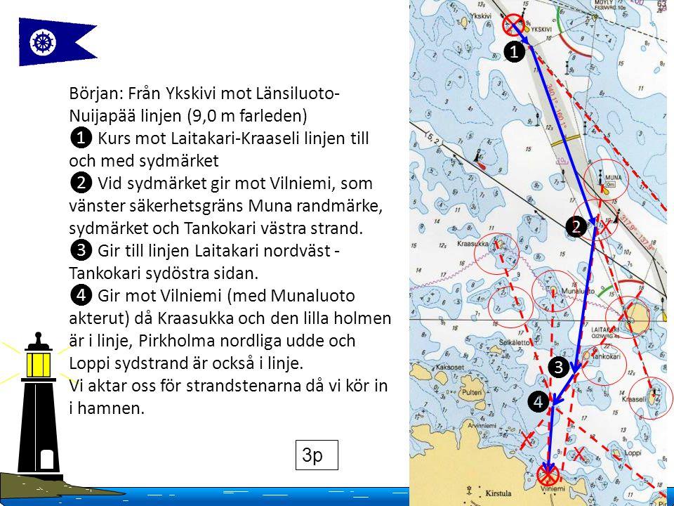 14 Copyright Finlands Navigationsförbund 2016 Början: Från Ykskivi mot Länsiluoto- Nuijapää linjen (9,0 m farleden) ❶ Kurs mot Laitakari-Kraaseli linjen till och med sydmärket ❷ Vid sydmärket gir mot Vilniemi, som vänster säkerhetsgräns Muna randmärke, sydmärket och Tankokari västra strand.