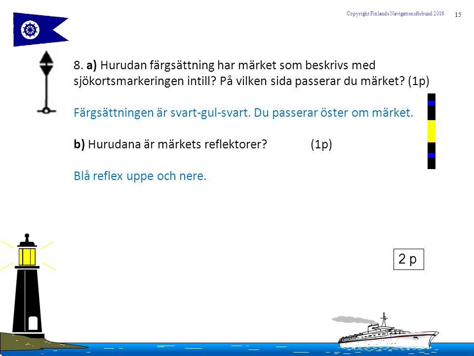 15 Copyright Finlands Navigationsförbund 2016 8. a) Hurudan färgsättning har märket som beskrivs med sjökortsmarkeringen intill? På vilken sida passer