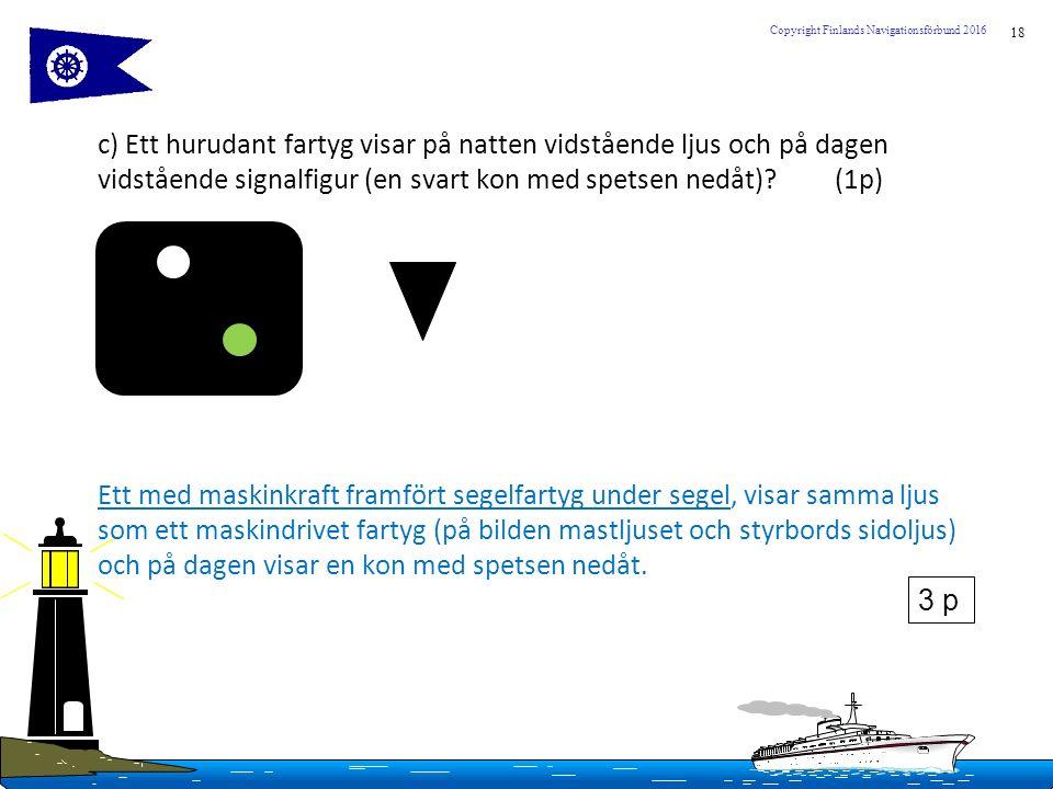 18 Copyright Finlands Navigationsförbund 2016 c) Ett hurudant fartyg visar på natten vidstående ljus och på dagen vidstående signalfigur (en svart kon med spetsen nedåt).
