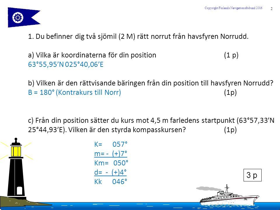 2 Copyright Finlands Navigationsförbund 2016 1. Du befinner dig två sjömil (2 M) rätt norrut från havsfyren Norrudd. a) Vilka är koordinaterna för din
