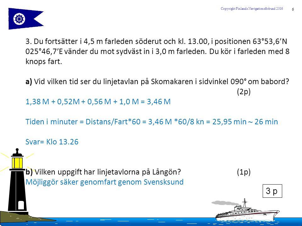 6 Copyright Finlands Navigationsförbund 2016 3. Du fortsätter i 4,5 m farleden söderut och kl. 13.00, i positionen 63°53,6'N 025°46,7'E vänder du mot