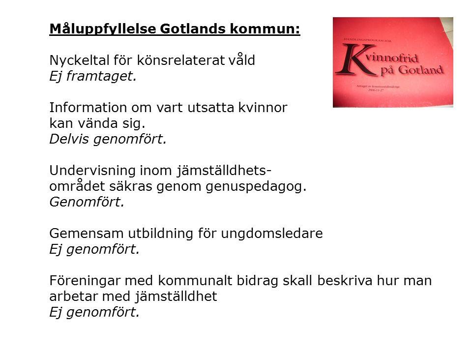 Måluppfyllelse Gotlands kommun: Nyckeltal för könsrelaterat våld Ej framtaget.