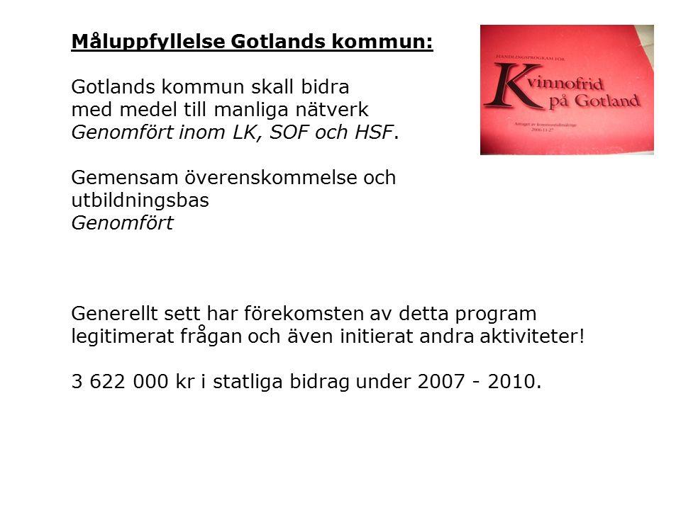 Måluppfyllelse Gotlands kommun: Gotlands kommun skall bidra med medel till manliga nätverk Genomfört inom LK, SOF och HSF.