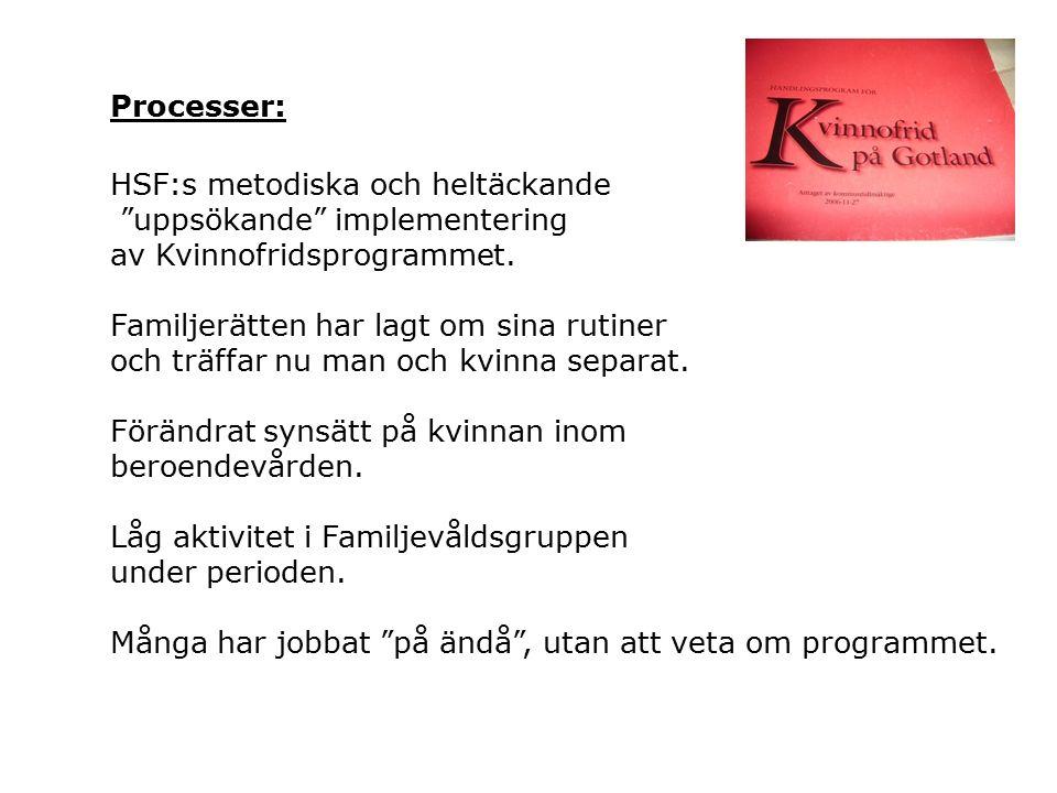 Processer: HSF:s metodiska och heltäckande uppsökande implementering av Kvinnofridsprogrammet.