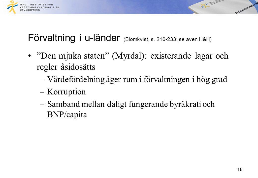 15 Förvaltning i u-länder (Blomkvist, s.