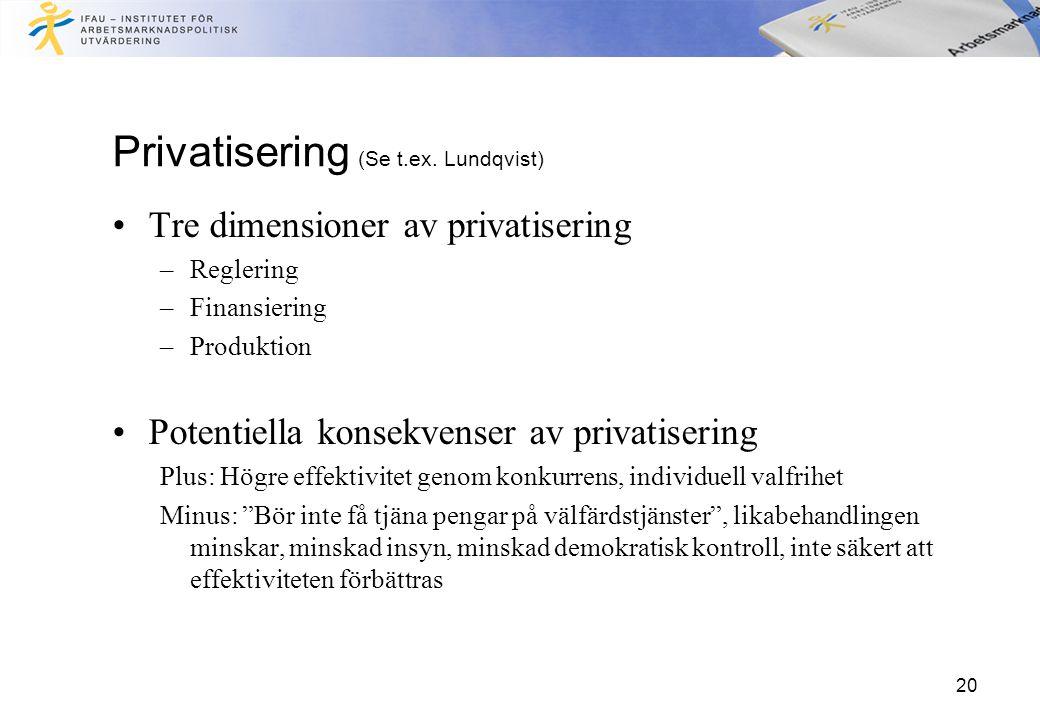 20 Privatisering (Se t.ex. Lundqvist) Tre dimensioner av privatisering –Reglering –Finansiering –Produktion Potentiella konsekvenser av privatisering