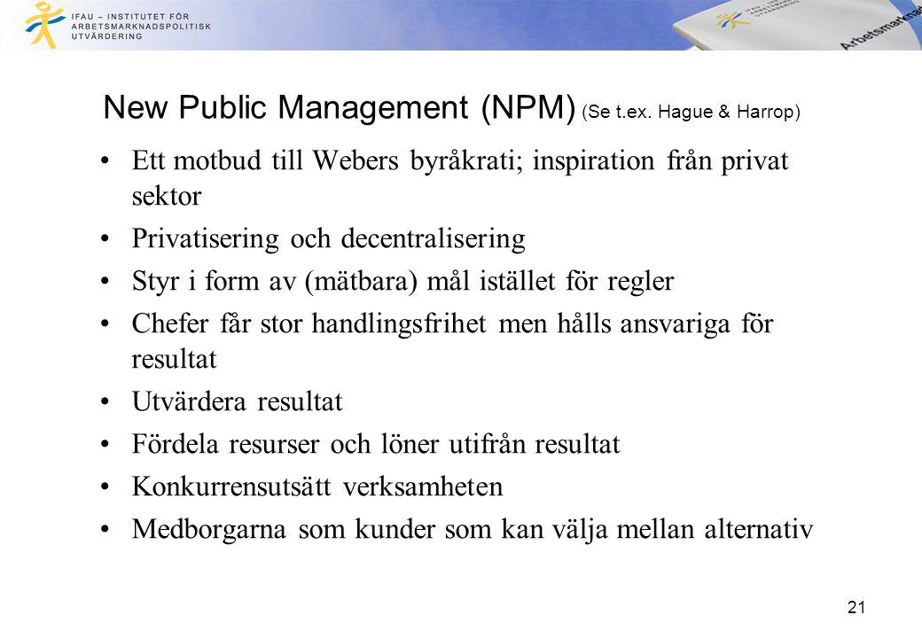21 New Public Management (NPM) (Se t.ex. Hague & Harrop) Ett motbud till Webers byråkrati; inspiration från privat sektor Privatisering och decentrali