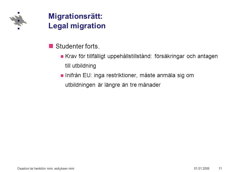 01.01.2006Osaston tai henkilön nimi, esityksen nimi11 Migrationsrätt: Legal migration Studenter forts.