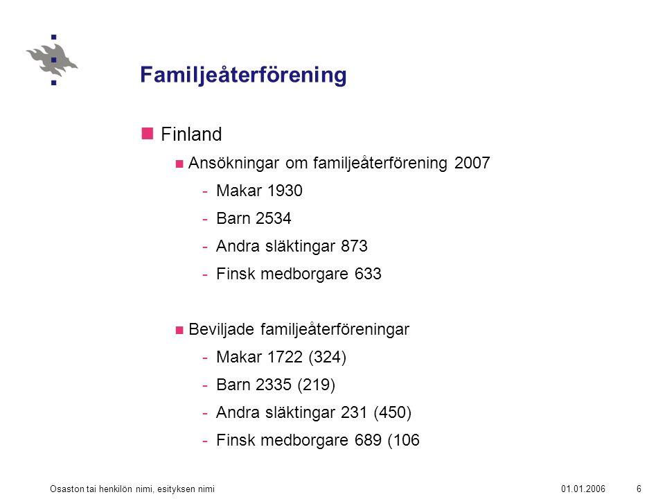 01.01.2006Osaston tai henkilön nimi, esityksen nimi7 Familjeåterförening Finland Utlänningslagen (301/2004) -§§ 37 – 38 -Vem är familjemedlem.