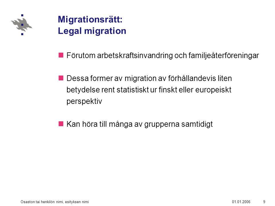 01.01.2006Osaston tai henkilön nimi, esityksen nimi10 Migrationsrätt: Legal migration Turister §40 UtlL Migranter.