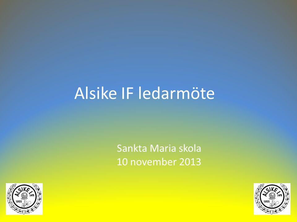 Alsike IF ledarmöte Sankta Maria skola 10 november 2013