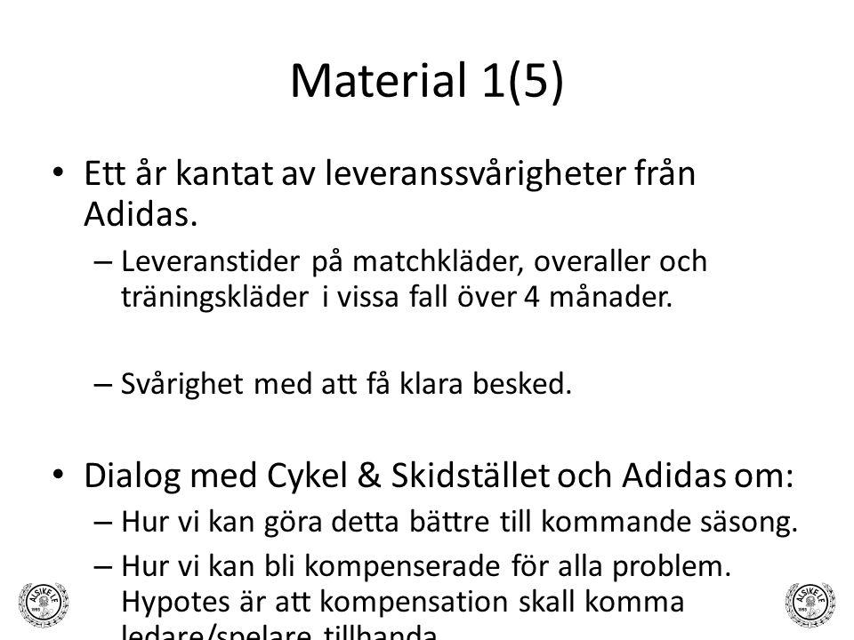 Material 1(5) Ett år kantat av leveranssvårigheter från Adidas. – Leveranstider på matchkläder, overaller och träningskläder i vissa fall över 4 månad