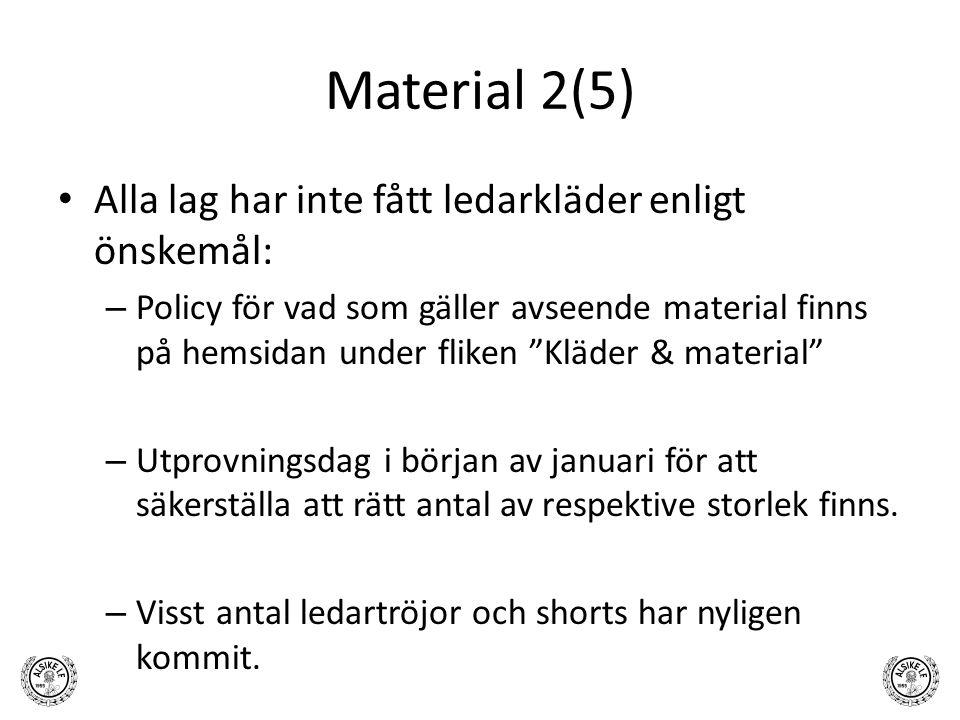 Material 2(5) Alla lag har inte fått ledarkläder enligt önskemål: – Policy för vad som gäller avseende material finns på hemsidan under fliken Kläder & material – Utprovningsdag i början av januari för att säkerställa att rätt antal av respektive storlek finns.