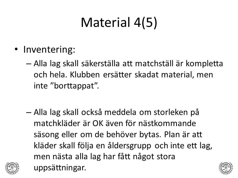 """Material 4(5) Inventering: – Alla lag skall säkerställa att matchställ är kompletta och hela. Klubben ersätter skadat material, men inte """"borttappat""""."""