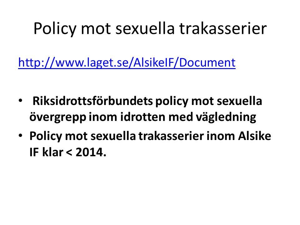 Policy mot sexuella trakasserier http://www.laget.se/AlsikeIF/Document Riksidrottsförbundets policy mot sexuella övergrepp inom idrotten med vägledning Policy mot sexuella trakasserier inom Alsike IF klar < 2014.