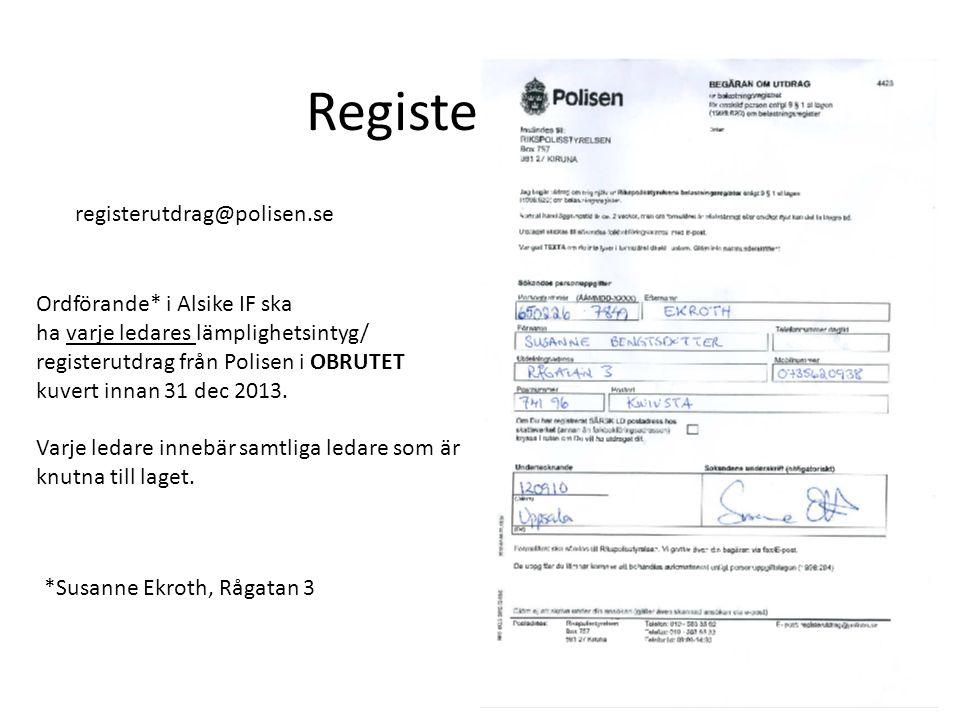 Registerutdrag registerutdrag@polisen.se Ordförande* i Alsike IF ska ha varje ledares lämplighetsintyg/ registerutdrag från Polisen i OBRUTET kuvert innan 31 dec 2013.