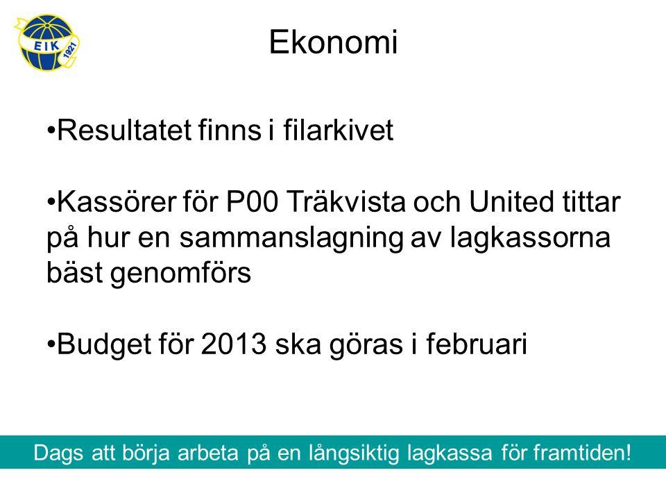 Ekonomi Resultatet finns i filarkivet Kassörer för P00 Träkvista och United tittar på hur en sammanslagning av lagkassorna bäst genomförs Budget för 2013 ska göras i februari Dags att börja arbeta på en långsiktig lagkassa för framtiden!