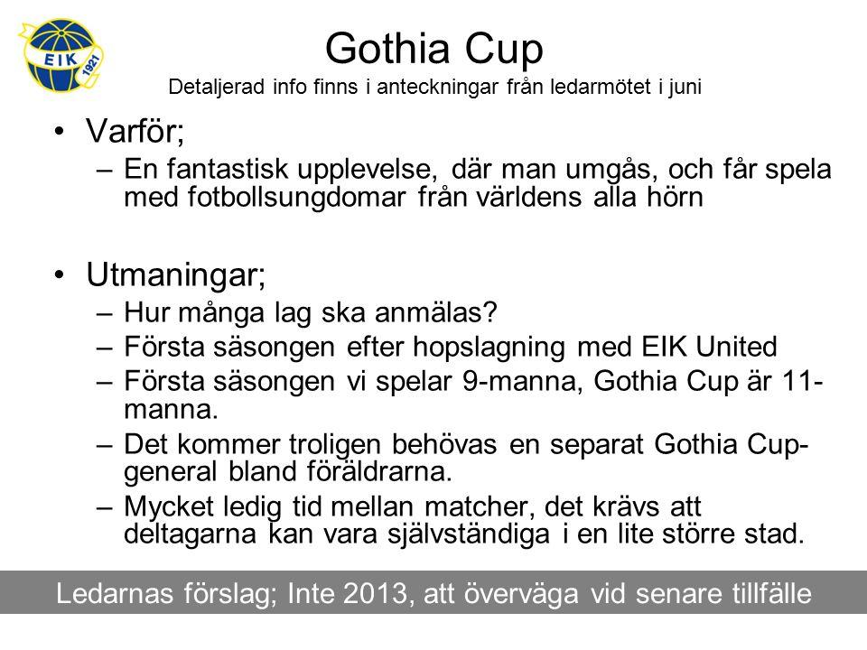 Gothia Cup Detaljerad info finns i anteckningar från ledarmötet i juni Varför; –En fantastisk upplevelse, där man umgås, och får spela med fotbollsungdomar från världens alla hörn Utmaningar; –Hur många lag ska anmälas.