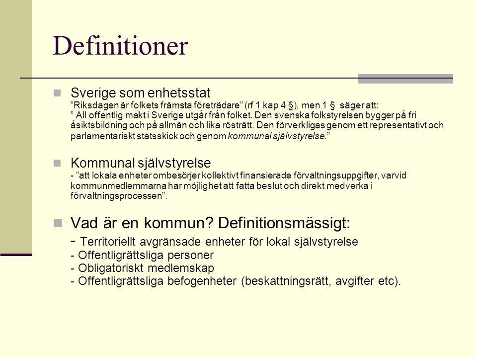 Kommuner ÅrAntal kommuner 1931 2531 1971 464 1977 277 2003 290 18 Landsting 2 Regioner (Skåne, Västra Götaland)