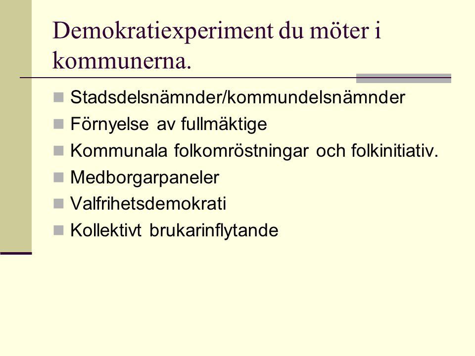 Demokratiexperiment du möter i kommunerna.