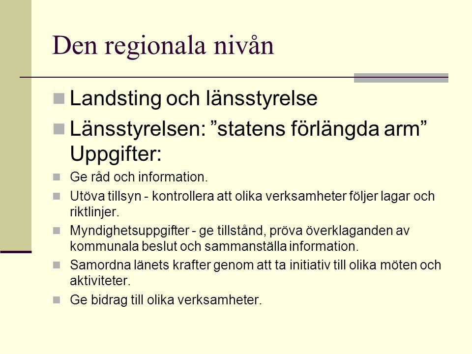 Den regionala nivån Landsting och länsstyrelse Länsstyrelsen: statens förlängda arm Uppgifter: Ge råd och information.