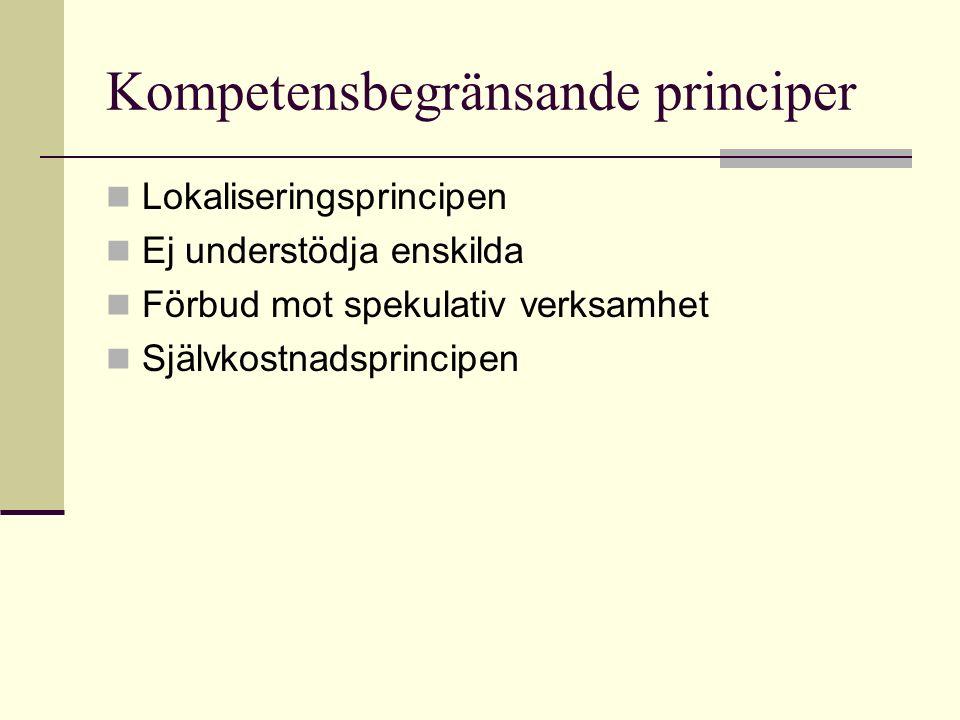 Lokaliseringsprincipen Ej understödja enskilda Förbud mot spekulativ verksamhet Självkostnadsprincipen Kompetensbegränsande principer
