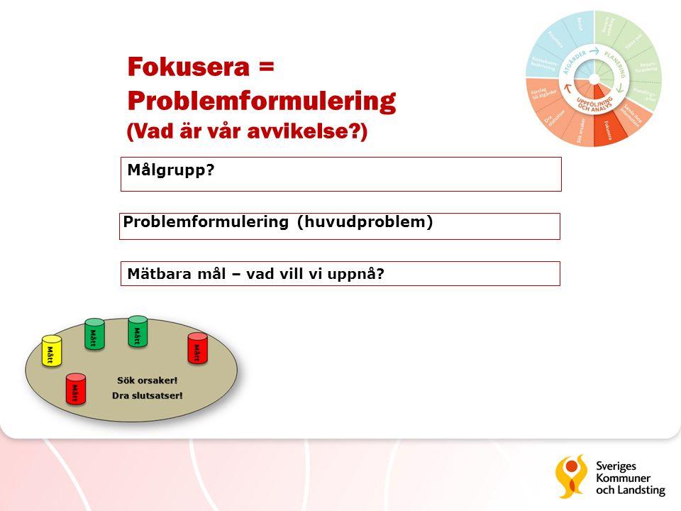 Fokusera = Problemformulering (Vad är vår avvikelse?) Målgrupp? Problemformulering (huvudproblem) Mätbara mål – vad vill vi uppnå?