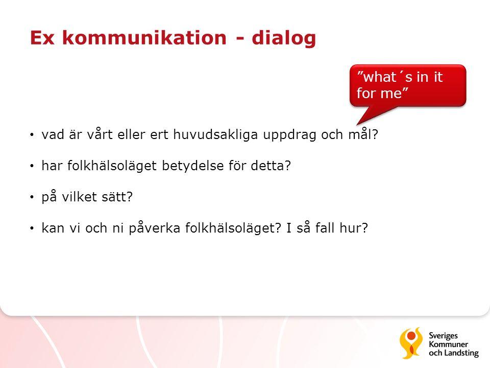 Ex kommunikation - dialog vad är vårt eller ert huvudsakliga uppdrag och mål? har folkhälsoläget betydelse för detta? på vilket sätt? kan vi och ni på
