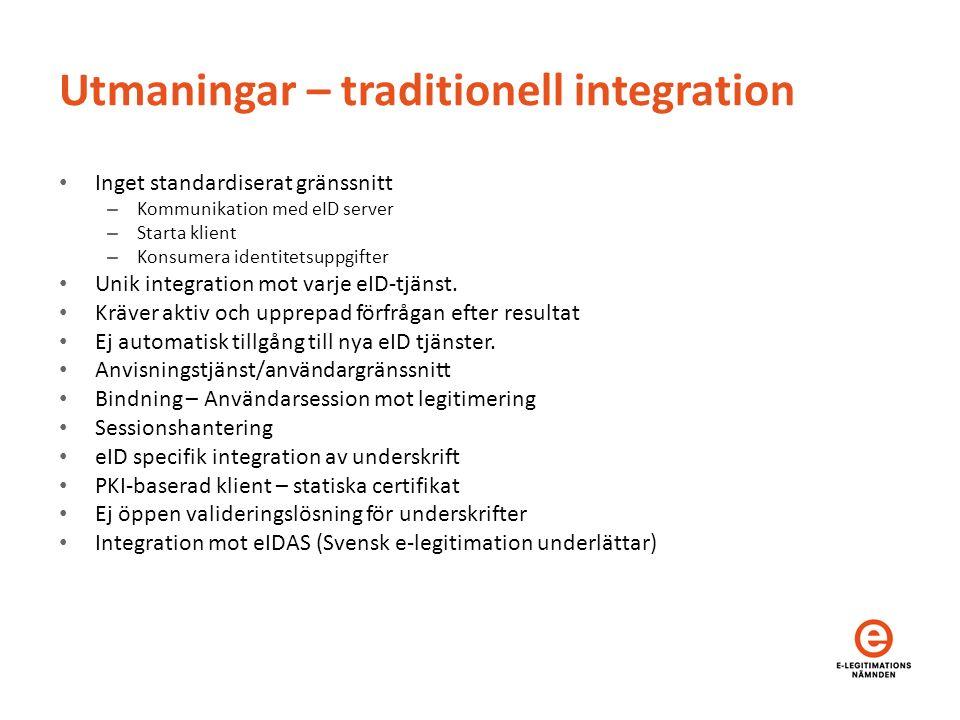 Utmaningar – traditionell integration Inget standardiserat gränssnitt – Kommunikation med eID server – Starta klient – Konsumera identitetsuppgifter Unik integration mot varje eID-tjänst.