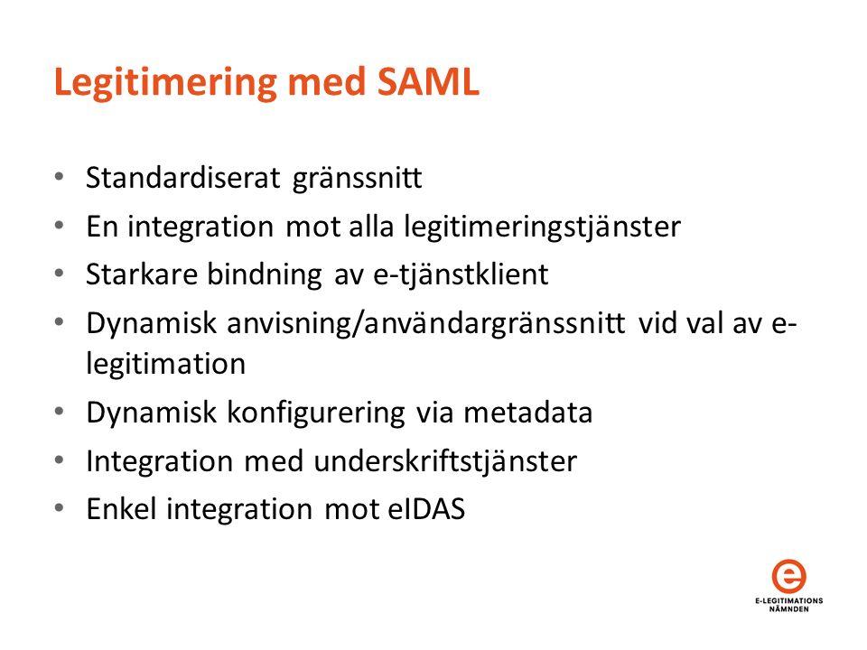 Legitimering med SAML Standardiserat gränssnitt En integration mot alla legitimeringstjänster Starkare bindning av e-tjänstklient Dynamisk anvisning/användargränssnitt vid val av e- legitimation Dynamisk konfigurering via metadata Integration med underskriftstjänster Enkel integration mot eIDAS