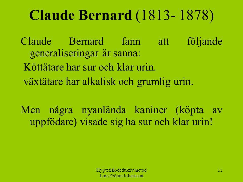 Hyptetisk-deduktiv metod Lars-Göran Johansson 11 Claude Bernard (1813- 1878) Claude Bernard fann att följande generaliseringar är sanna: Köttätare har sur och klar urin.