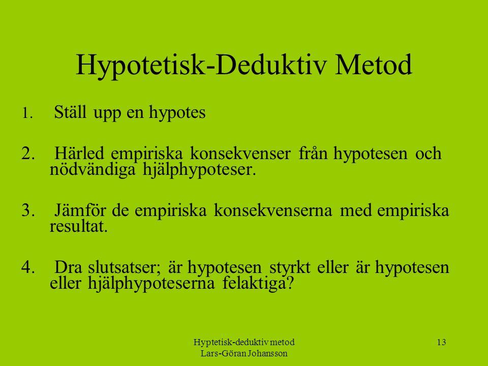 Hyptetisk-deduktiv metod Lars-Göran Johansson 13 Hypotetisk-Deduktiv Metod 1.
