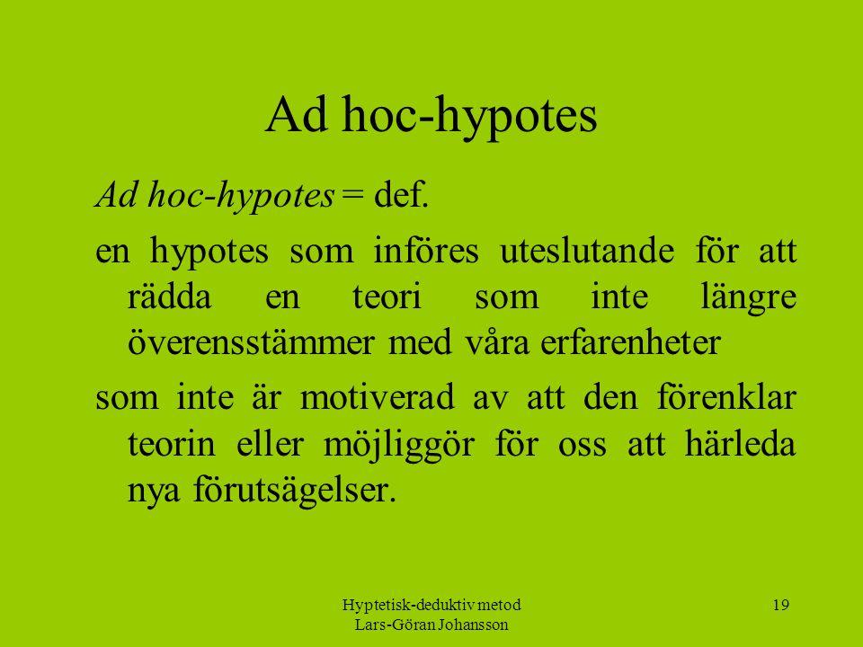 Hyptetisk-deduktiv metod Lars-Göran Johansson 19 Ad hoc-hypotes Ad hoc-hypotes = def.