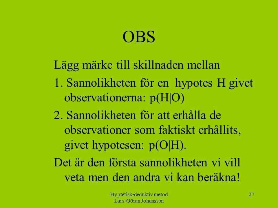 Hyptetisk-deduktiv metod Lars-Göran Johansson 27 OBS Lägg märke till skillnaden mellan 1.