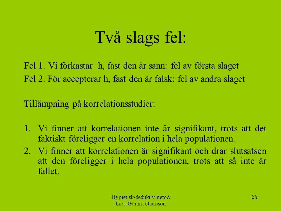 Hyptetisk-deduktiv metod Lars-Göran Johansson 28 Två slags fel: Fel 1.