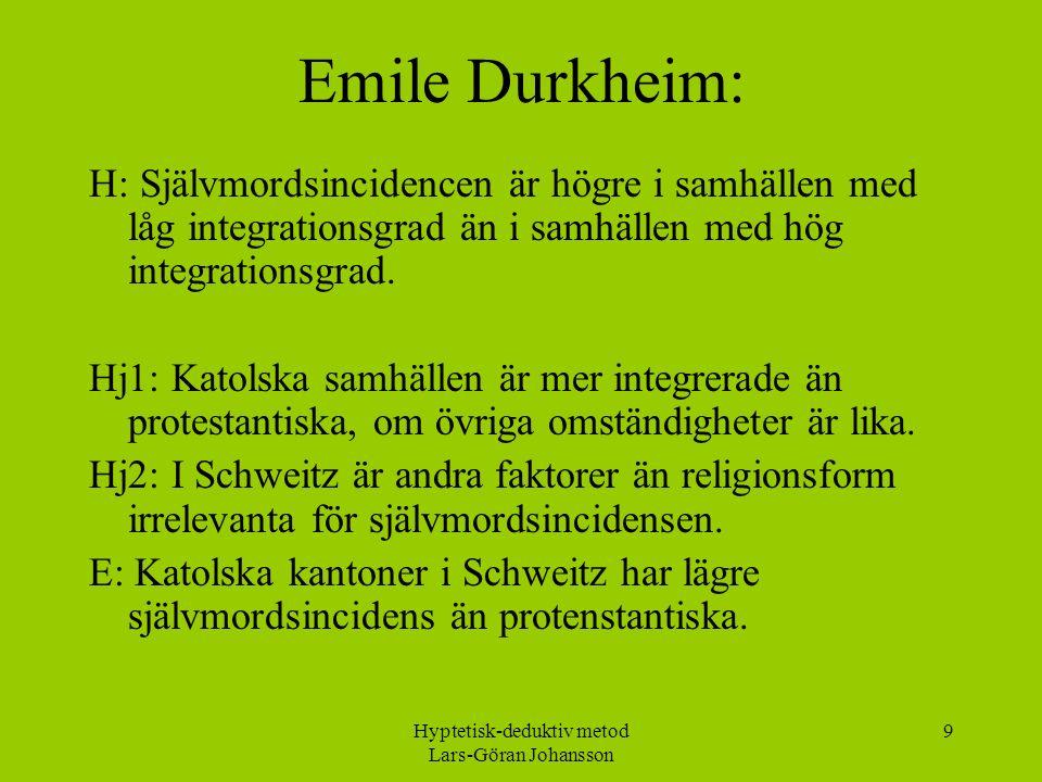 Hyptetisk-deduktiv metod Lars-Göran Johansson 9 Emile Durkheim: H: Självmordsincidencen är högre i samhällen med låg integrationsgrad än i samhällen med hög integrationsgrad.