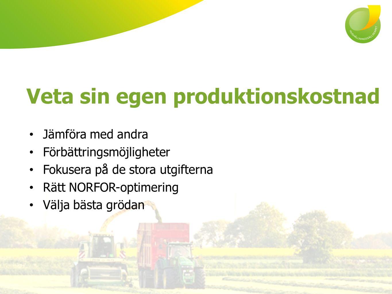 Jämföra med andra Förbättringsmöjligheter Fokusera på de stora utgifterna Rätt NORFOR-optimering Välja bästa grödan Veta sin egen produktionskostnad