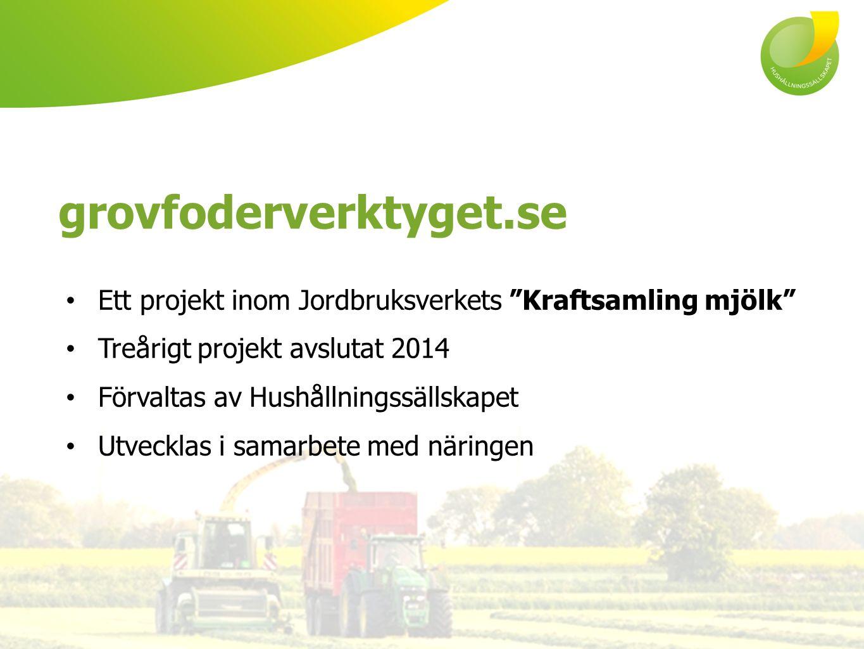 Ett projekt inom Jordbruksverkets Kraftsamling mjölk Treårigt projekt avslutat 2014 Förvaltas av Hushållningssällskapet Utvecklas i samarbete med näringen grovfoderverktyget.se