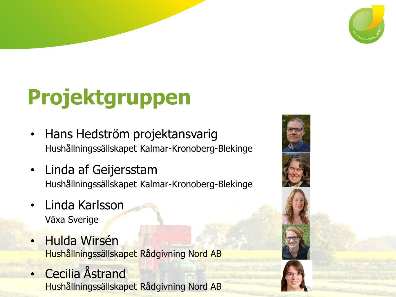 Projektgruppen Hans Hedström projektansvarig Hushållningssällskapet Kalmar-Kronoberg-Blekinge Linda af Geijersstam Hushållningssällskapet Kalmar-Krono