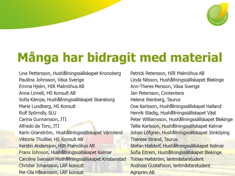 Många har bidragit med material Lina Pettersson, Hushållningssällskapet Kronoberg Pauliina Johnsson, Växa Sverige Emma Hjelm, HIR Malmöhus AB Anna Lin
