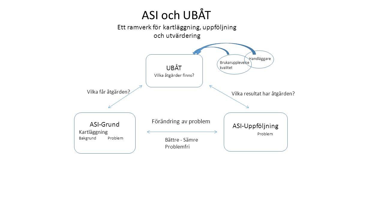 ASI-Grund Kartläggning Bakgrund Problem ASI-Uppföljning Problem UBÅT Vilka åtgärder finns? Vilka får åtgärden? Vilka resultat har åtgärden? ASI och UB